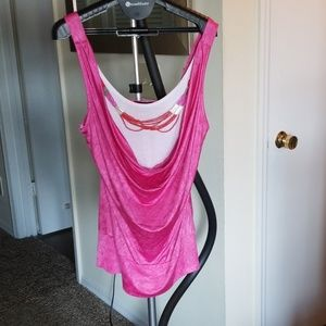 Dressy top with permanent camisole insert
